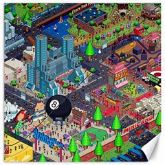 Pixel Art City Canvas 20  X 20   by Sapixe