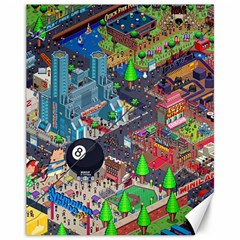 Pixel Art City Canvas 11  X 14   by Sapixe