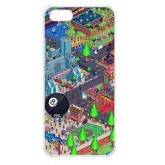Pixel Art City Apple Iphone 5 Seamless Case (white) by Sapixe