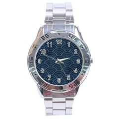 Japan Sashiko Navy Ornament Stainless Steel Analogue Watch