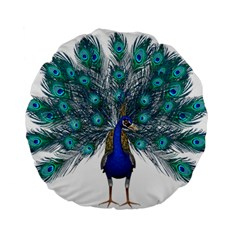 Peacock Bird Peacock Feathers Standard 15  Premium Flano Round Cushions by Sapixe