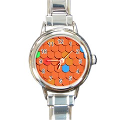 Roof Brick Colorful Red Roofing Round Italian Charm Watch by Sapixe