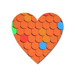 Roof Brick Colorful Red Roofing Heart Magnet by Sapixe
