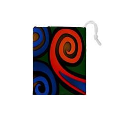 Simple Batik Patterns Drawstring Pouches (small)  by Sapixe