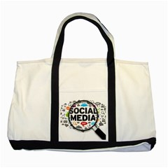 Social Media Computer Internet Typography Text Poster Two Tone Tote Bag by Sapixe