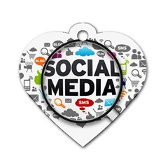 Social Media Computer Internet Typography Text Poster Dog Tag Heart (two Sides)