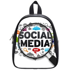 Social Media Computer Internet Typography Text Poster School Bag (small) by Sapixe