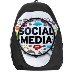 Social Media Computer Internet Typography Text Poster Backpack Bag by Sapixe