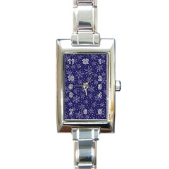 Snowflakes Pattern Rectangle Italian Charm Watch by Sapixe
