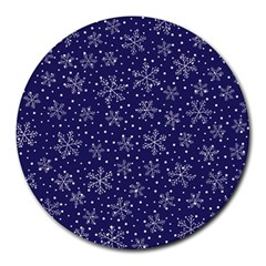 Snowflakes Pattern Round Mousepads by Sapixe