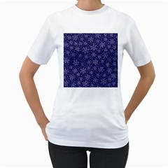 Snowflakes Pattern Women s T Shirt (white) (two Sided) by Sapixe