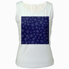 Snowflakes Pattern Women s White Tank Top by Sapixe