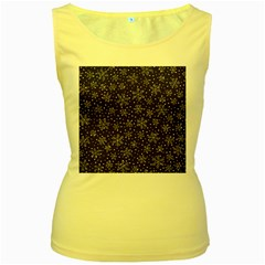 Snowflakes Pattern Women s Yellow Tank Top by Sapixe