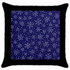 Snowflakes Pattern Throw Pillow Case (black) by Sapixe