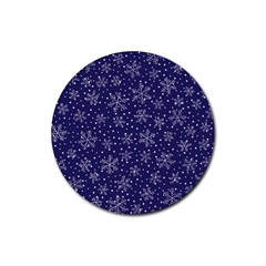 Snowflakes Pattern Rubber Round Coaster (4 Pack)  by Sapixe