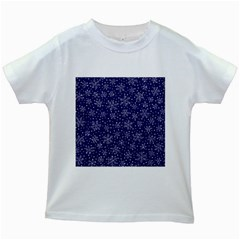 Snowflakes Pattern Kids White T Shirts by Sapixe