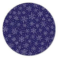 Snowflakes Pattern Magnet 5  (round) by Sapixe