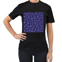 Snowflakes Pattern Women s T Shirt (black) (two Sided) by Sapixe
