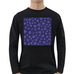 Snowflakes Pattern Long Sleeve Dark T Shirts by Sapixe