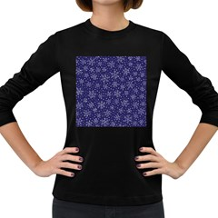 Snowflakes Pattern Women s Long Sleeve Dark T Shirts by Sapixe