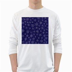 Snowflakes Pattern White Long Sleeve T Shirts by Sapixe