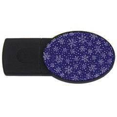 Snowflakes Pattern Usb Flash Drive Oval (4 Gb) by Sapixe