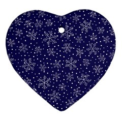 Snowflakes Pattern Heart Ornament (two Sides) by Sapixe