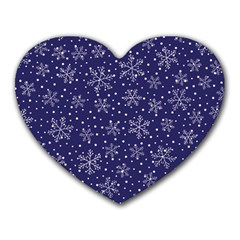 Snowflakes Pattern Heart Mousepads by Sapixe