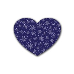 Snowflakes Pattern Rubber Coaster (heart)  by Sapixe