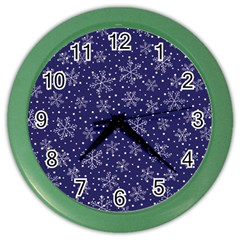 Snowflakes Pattern Color Wall Clocks by Sapixe