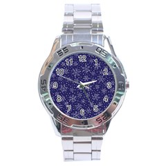 Snowflakes Pattern Stainless Steel Analogue Watch by Sapixe