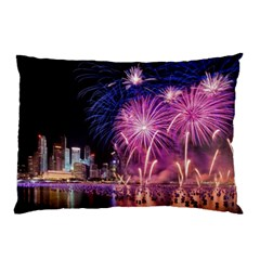Singapore New Years Eve Holiday Fireworks City At Night Pillow Case (two Sides) by Sapixe