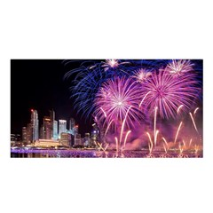 Singapore New Years Eve Holiday Fireworks City At Night Satin Shawl by Sapixe