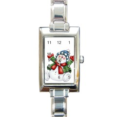 Snowman With Scarf Rectangle Italian Charm Watch by Sapixe