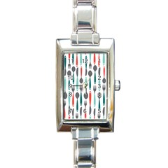 Spoon Fork Knife Pattern Rectangle Italian Charm Watch by Sapixe