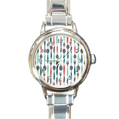 Spoon Fork Knife Pattern Round Italian Charm Watch by Sapixe