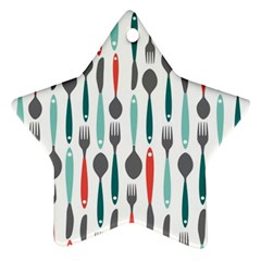 Spoon Fork Knife Pattern Ornament (star) by Sapixe