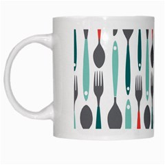 Spoon Fork Knife Pattern White Mugs by Sapixe