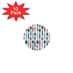 Spoon Fork Knife Pattern 1  Mini Buttons (10 Pack)  by Sapixe