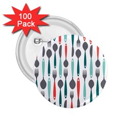 Spoon Fork Knife Pattern 2 25  Buttons (100 Pack)  by Sapixe