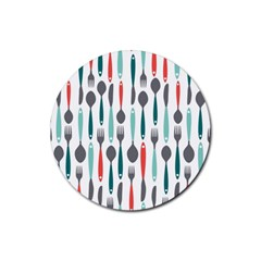 Spoon Fork Knife Pattern Rubber Round Coaster (4 Pack)  by Sapixe