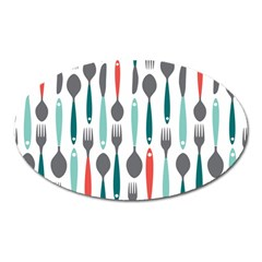 Spoon Fork Knife Pattern Oval Magnet by Sapixe