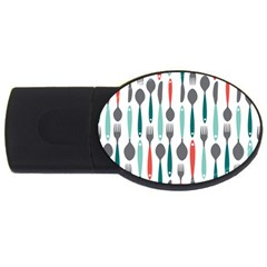 Spoon Fork Knife Pattern Usb Flash Drive Oval (2 Gb) by Sapixe