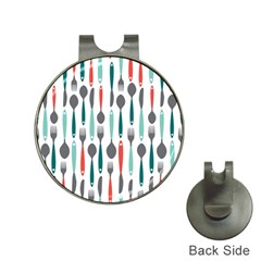 Spoon Fork Knife Pattern Hat Clips With Golf Markers by Sapixe