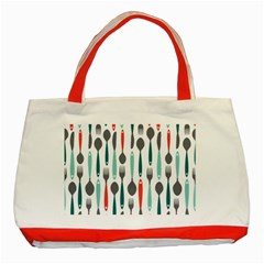 Spoon Fork Knife Pattern Classic Tote Bag (red) by Sapixe