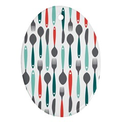 Spoon Fork Knife Pattern Oval Ornament (two Sides) by Sapixe