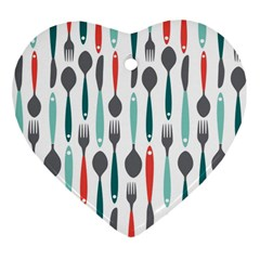 Spoon Fork Knife Pattern Heart Ornament (two Sides) by Sapixe