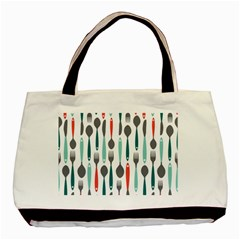 Spoon Fork Knife Pattern Basic Tote Bag (two Sides) by Sapixe