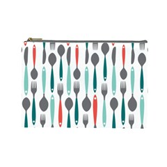 Spoon Fork Knife Pattern Cosmetic Bag (large)  by Sapixe
