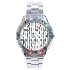 Spoon Fork Knife Pattern Stainless Steel Analogue Watch by Sapixe